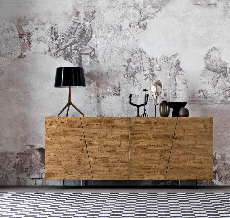 GROOVE Sideboard pantry in solid wood with wooden feet | metal | glass | polypropylene