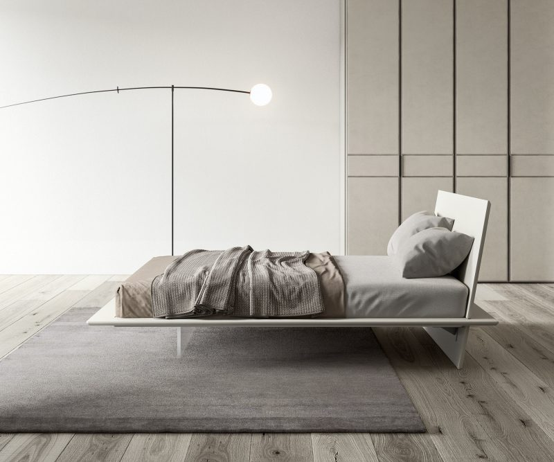 Plana This double wooden bed, is the first bed with Italian Quality Environmental Certification.