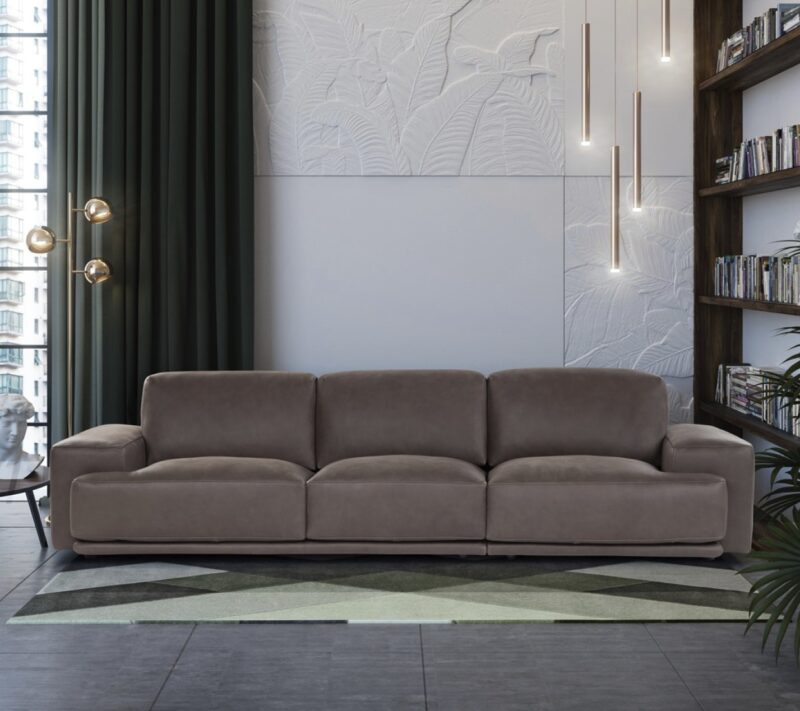 Foster The Elisir sofa stands out for its elegant, soft shapes, in stark contrast to the pin-shaped legs. Thanks to a hidden mechanism within the backrests, the back element can be adjusted to the desired height and comfort.