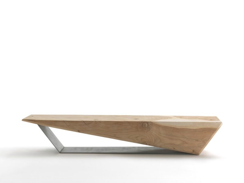 WEDJE Bench made of a single block of scented cedar with a simple and linear geometrical shape that continues in the metallic base, which can be used as a container.