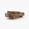 Utah Sofa with backrest, base and feet in veneered blockboard, composed of modular elements. Upholstered with leather or fabric with visible stitching.