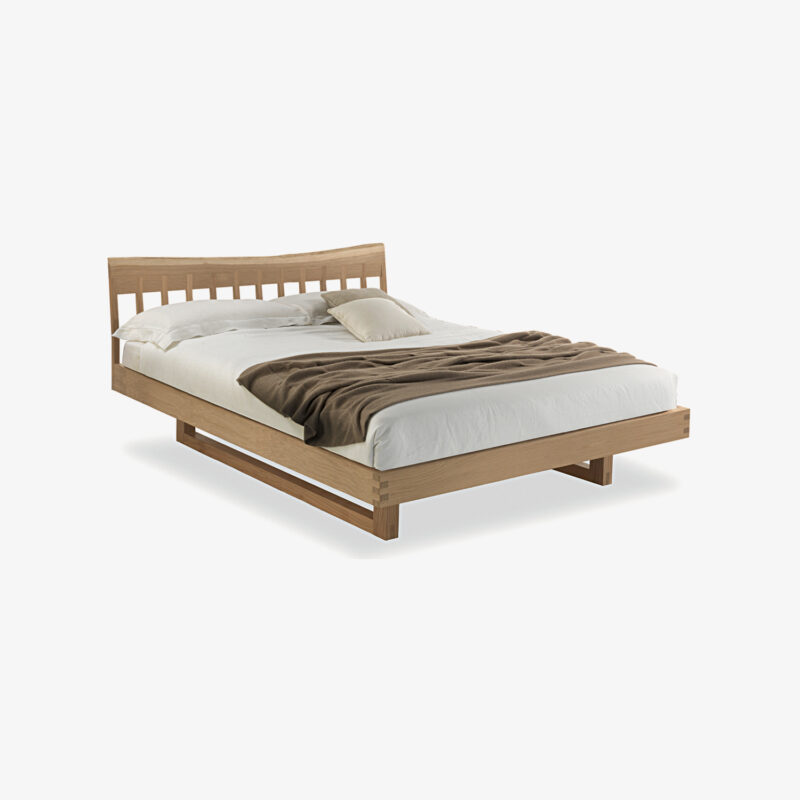 Bam Bam Bed completely made of solid wood with dovetail joints made completely by hand, combined with a headboard made of slats enclosed by a plank with natural side. Square lines for the structure and the base.
