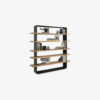 """Crazy Bookshelf in solid wood with a fine iron frame, """"irondust"""" anthracite grey lacquered, and shelving with natural edges that intersect and protrude from the structure."""