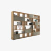 Password Bookshelf in solid wood and multilayer, featuring structural side panels and modular and asymmetrical shelves.