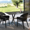 Lloyd - Easy Lloyd Chair with solid wood structure, available in oak tobacco, or in open pore glossy black painted finishes. Seat and backrest are leather-upholstered.