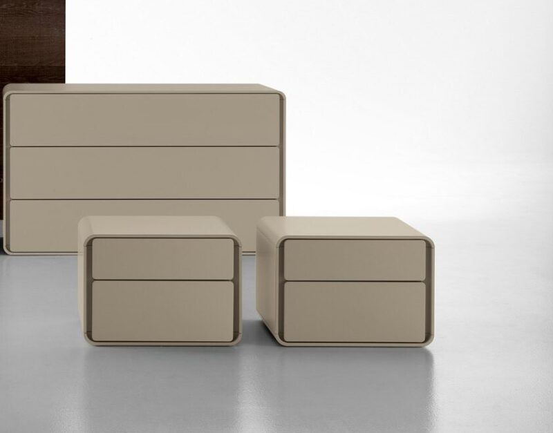 ICE The Ice night stands and dresser are distinguished by the refined structure in lacquered colours