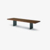 NATURA Bench with seat made of solid wood in glued lists, with straight sides, and iron legs with a centre gap.