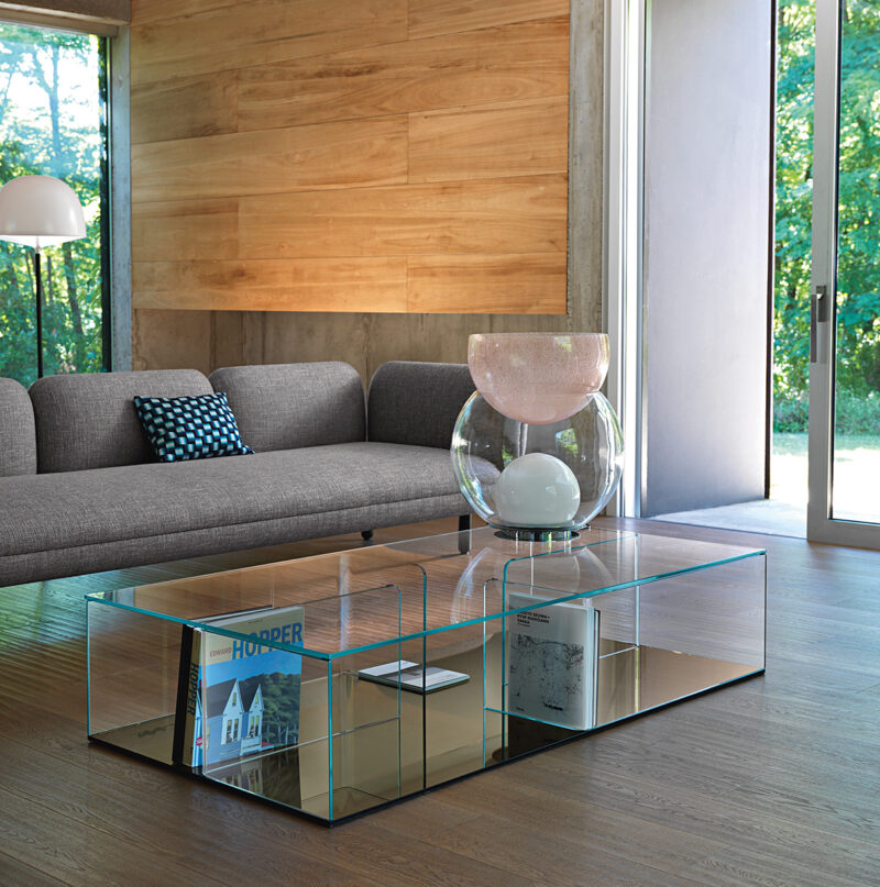 QUADRA COFFEE TABLE/STORAGE UNIT IN CURVED GLASS