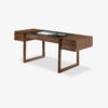 Elle Ecrit Writing desk with geometric design made of veneered blockboard, drawers assembled with dovetail joints and legs in solid wood. Available in two different versions.