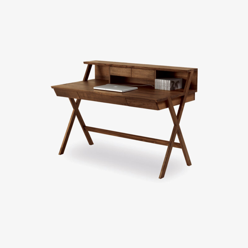 "Navarra Writing desk made completely of solid wood. Drawers drawers assembled with dovetail joints. Available with or without upstand, 1 or 3 drawers under the top, it is characterized by an ""X"" joint between the legs."