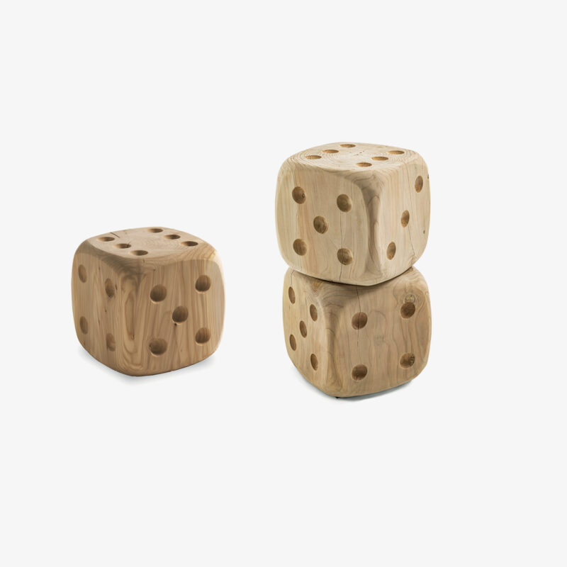 Dadone Stool made of a single block of scented cedar wood with clear references to the famous dice game. Available in small and large versions (two elements are superimposed one on top of the other).