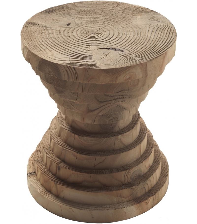 Astrati Stool made from a single block of scented cedar. It features many concentric layers that appear to be superimposed from large to small and from small to large.