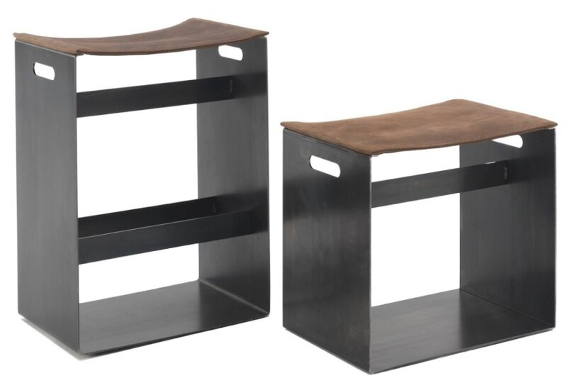 Barney Small & Big Stool with iron structure with seat upholstered in leather Utah. Available in two different heights.