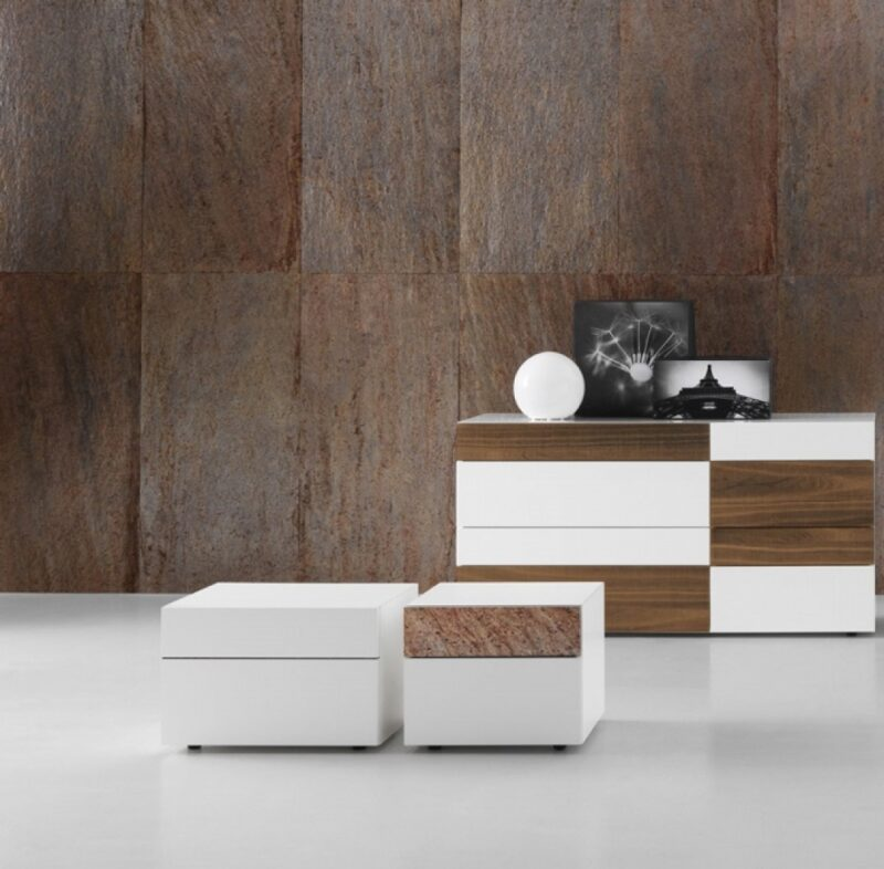 "WING Night stands and dressers are available in laquer colours, color wood or ""aged"" oak. The drower in different colour (available in stone, lacquer colours, color wood or ""aged"" oak) has an original appeal."