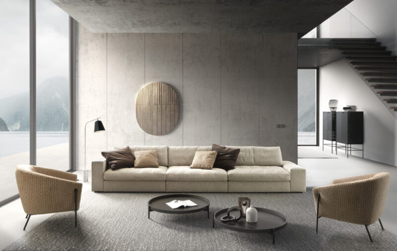 Patrick Patrick, individual elements that can be combined in several positions in a game of soft and inviting geometries. A sofa with a versatile character that meets all space and relaxation needs.