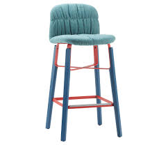 Liu Barstool Liù stool with four legs steel base. Shell upholstered in leather, faux leather or fabric. Optional wooden back face.