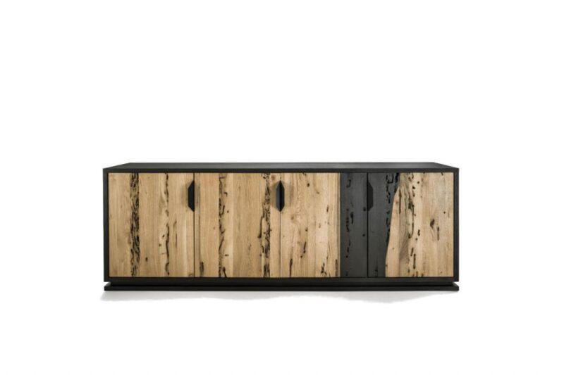 FIRE LOW Lowboard in solid wood and blockboard