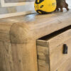 CURVY Bedside unit made of aged wood