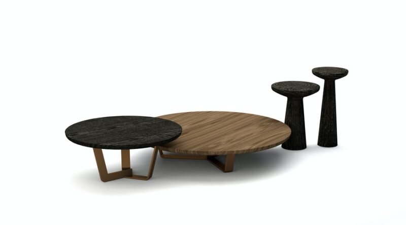 Kohi Round small table with top in marble,wood,kauri, combined with an iron base. Available in different sizes, with possibility of stacking one over the other.