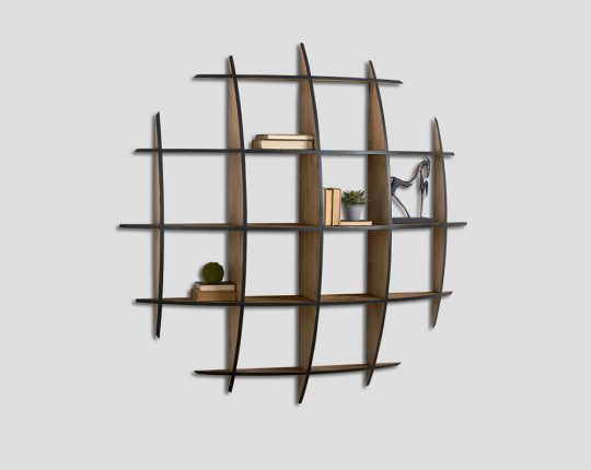 Wall - db006716 The suspended bookcase made of old wood by Dialma Brown.