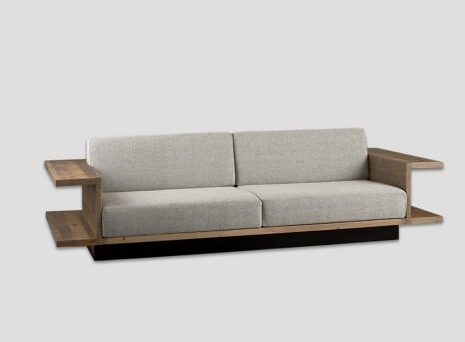 Pure - db006774 Sofa with old pine structure and shelves in Natural finish, fabric seat and backrest. <strong>Dimensions</strong>H. 80 L. 280 D. 120